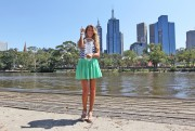 Виктория Азаренко, фото 180. Victoria Azarenka Posing with the Australian Open Trophy along the Yarra River in Melbourne - 29.01.2012, foto 180